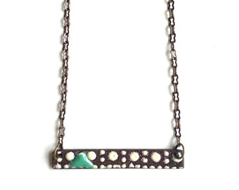 Enamel Rectangle Necklace