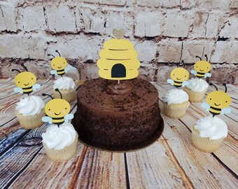Gender Reveal Baby Shower | Bee Cupcake Topper |