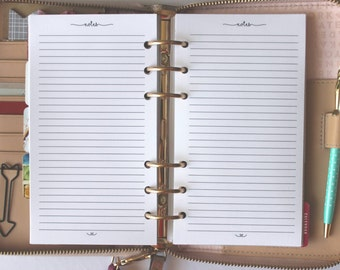Printed Notes Personal Size Planner Inserts
