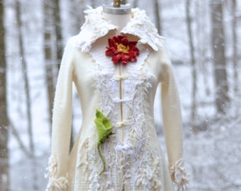 White Sweater COAT, fantasy wearable art clothing, OOAK refashioned Couture, long Winter art to wear, Fairy tail Wedding Coat.Size M