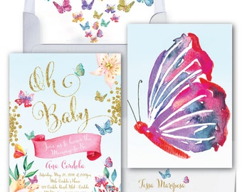 Butterfly Baby Shower Invitation // Butterflies//Oh Baby//Flowers//Baby Sprinkle Invitation//Watercolor // Gold Glitter// CORDOBA COLLECTION