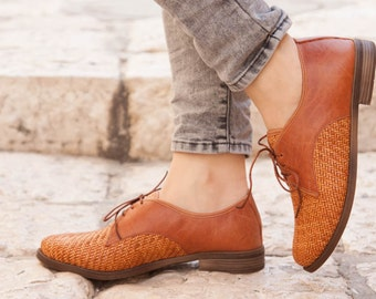 Camel Leather Shoes, Woven Oxford Shoes, Close Shoes, Flat Shoes, Rust Shoes , Free Shipping