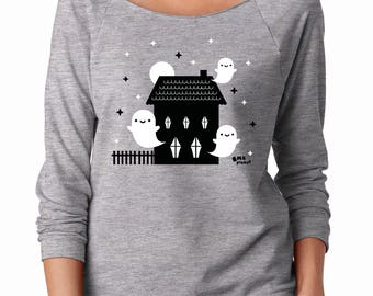 Haunted House Sweater - Ghost Long Sleeve Slouchy Sweater - (Available in Unisex sizes S, M, L, XL)