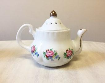 Teapot pomander, vintage pomander, potpourri holder, floral pomander, porcelain pomander, air freshener, china pomander, room freshener