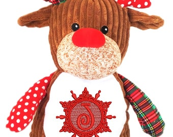 Cubbies Harlequin Red Reindeer Personalized & Embroidered Monogrammed Stuffed Animal Gift