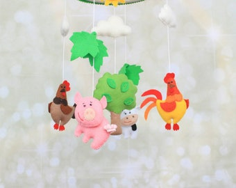 Baby mobile Farm mobile Felt crib mobile Barnyard animals cot mobile Cow mobile Chicken mobile Nature mobile Country nursery Farm animals