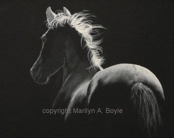 ORIGINAL ACRYLIC PAINTING; Horse, black wrapped canvas, 11 x 14 inch, one of a kind, wall art, equine art, moonlit, limited palette