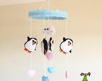 Penguin Baby Crib Mobile, Nursery Decoration-with ice mountain and  blue/pink hearts