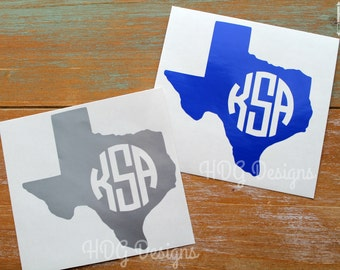 Texas Decal - Monogram Decal - Monogram Texas Decal - Texas Sticker - Yeti Decal - Yeti Cup decal - RTIC Decal - Car Decal - Cup decal
