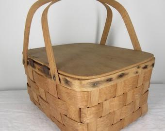 Vintage picnic Basket small square Pie Basket Rustic Farmhouse Double Handle Lidded wood woven Bespoke handmade gathering Market gift idea