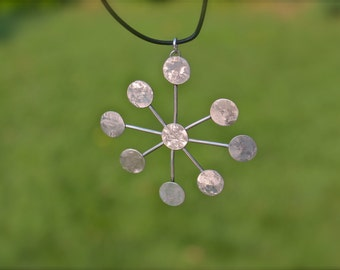 Pendant only. Statement Piece. Large Pendant. Snowflake/ Geometric Necklace. Sterling Silver. Handmade.