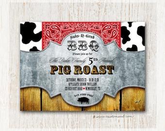 Pig Roast Invitation, BBQ invitations, BBQ invites, Family Reunion Invitation, Annual Picnic, Wild West Invitations, Country BBQ, Cow Print