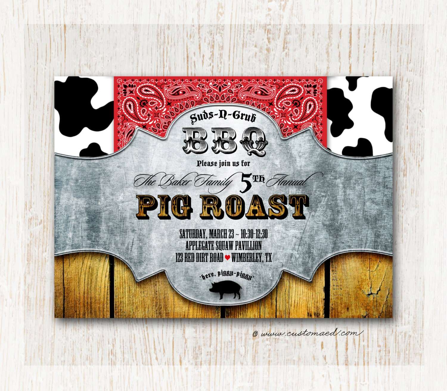 pig roast birthday invitation bbq pig pickin printable bonfire pig