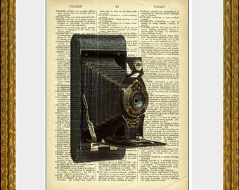 FOLDING CAMERA - dictionary book page art print - an upcycled antique dictionary page with retooled photography illustration - home decor