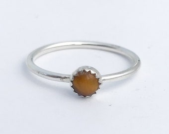 Tiger Eye Stacking Ring Thin Stacking Ring Tigers Eye Ring Thin Stacking Band Promise Ring