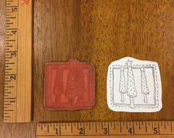 Three Christmas Tree Rubber Stamp Cardmaking Scrapbooking Printing