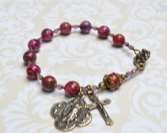 St Raphael Rosary Bracelet with Pink Crazy Lace agate