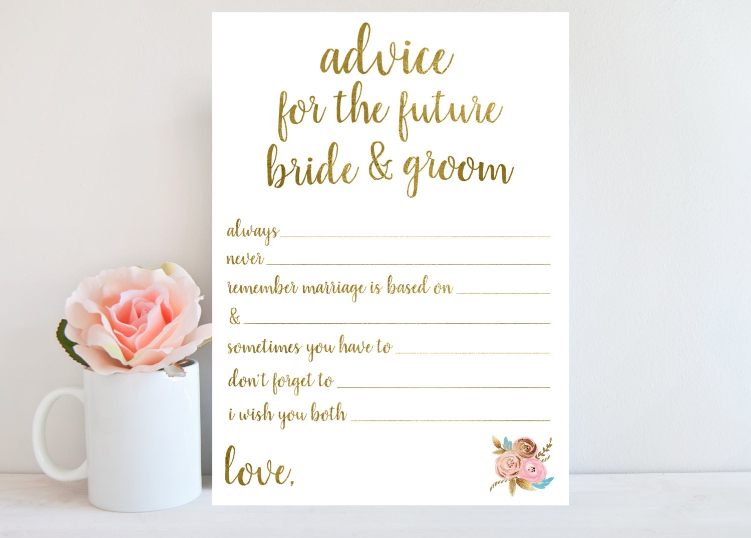 Advice For The Bride And Groom Bridal Shower Game Printable