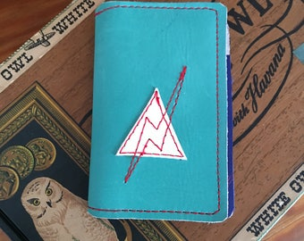 Leather Wallet lightening bolt turquoise suede