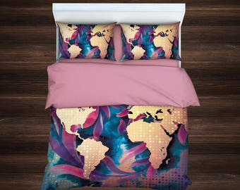 World map bedding etsy world map watercolor beddingworld map art duvet cover setbohemian duvet cover set publicscrutiny Image collections