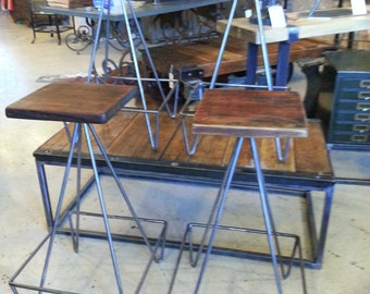 Set Of Bar Stools With Salvaged Wood Top