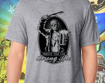 Friday the 13th / Jason's Strong Ale in Black / Men's Gray Performance T-Shirt