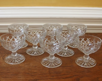 Set of 8 Sherbets, Hocking Glass Waterford, Waffle Pattern. C. 1940
