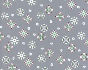 Jingle Birds Snowflakes on Gray from Keiki for Moda