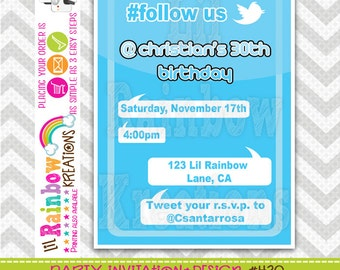 430: DIY - Tweet  Away Party Invitation Or Thank You Card