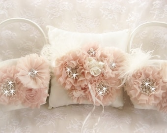 Blush Flower Girl Baskets Ring Bearer Pillow and 2 Flower Girl Baskets Blush and Cream Flower Girl Basket Set Wedding Pillow