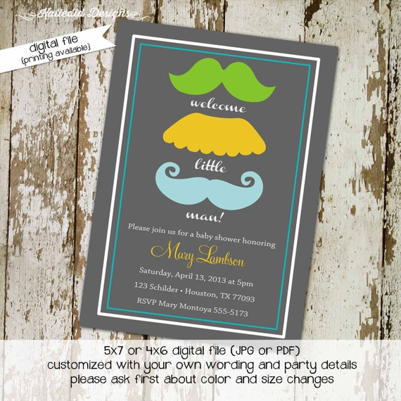 Mustache baby shower invitation Little man Gentleman oh boy couples coed sprinkle sip see diaper wipes bash brunch | 1263 Katiedid Designs