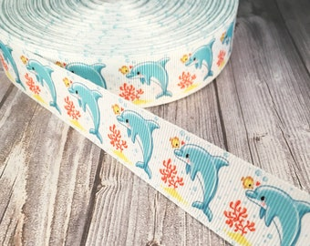 "Dolphin ribbon - Under the sea -  1"" Grosgrain ribbon - Ocean animal ribbon - Dolphin theme - Baby shower - DIY hair bows - Dolphin crafts"