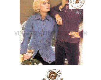 "Ladies, 1970s, round neck, wide rib, raglan sleeve, mohair cardigan - 32"" - 38"" chest - Vintage PDF Knitting Pattern 935"