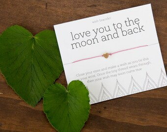 Love you to the Moon and Back Wish Bracelet, Gift for Girlfriend, Best Friend Gift, Friendship Bracelet, Easy Anniversary Gift, I Love You