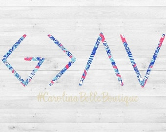 Lilly Pulitzer God Is Greater Than The Ups & Downs Decal / God  decal / God is Greater Sticker/ Lilly decal