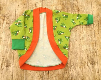 Super cute cardigan, Green dolman cardi, baby boy's cardigan, toddler cardigan, kids jersey top, Gecko print, chameleon print, outer wear