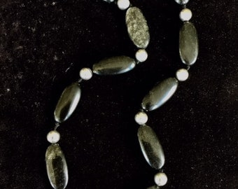 Onyx and Sterling Silver Bead Necklace