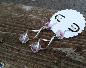 Pink Rose Crystal Bead Trendy Spiral Earrings - Fashion Jewelry - Handmade - Womens earrings - Silver spiral earrings - gifts for prom