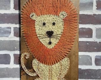 String Art Lion, Lion Nursery Art, Lion Sign, Custom Made Wood Sign, Baby Shower Gift, Safari Nursery Art, 3D Wall art, Nail Art Lion