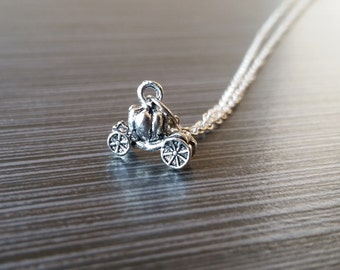 Silver Pumpkin Carriage Necklace - Princess Charm Pendant - Personalized Necklace - Custom Gift - Initial Necklace - Personalized Gift