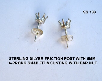 Sterling Silver pierced earrings 5mm round 6 prong snap tite on single notch-post & friction back ear nuts.SS138