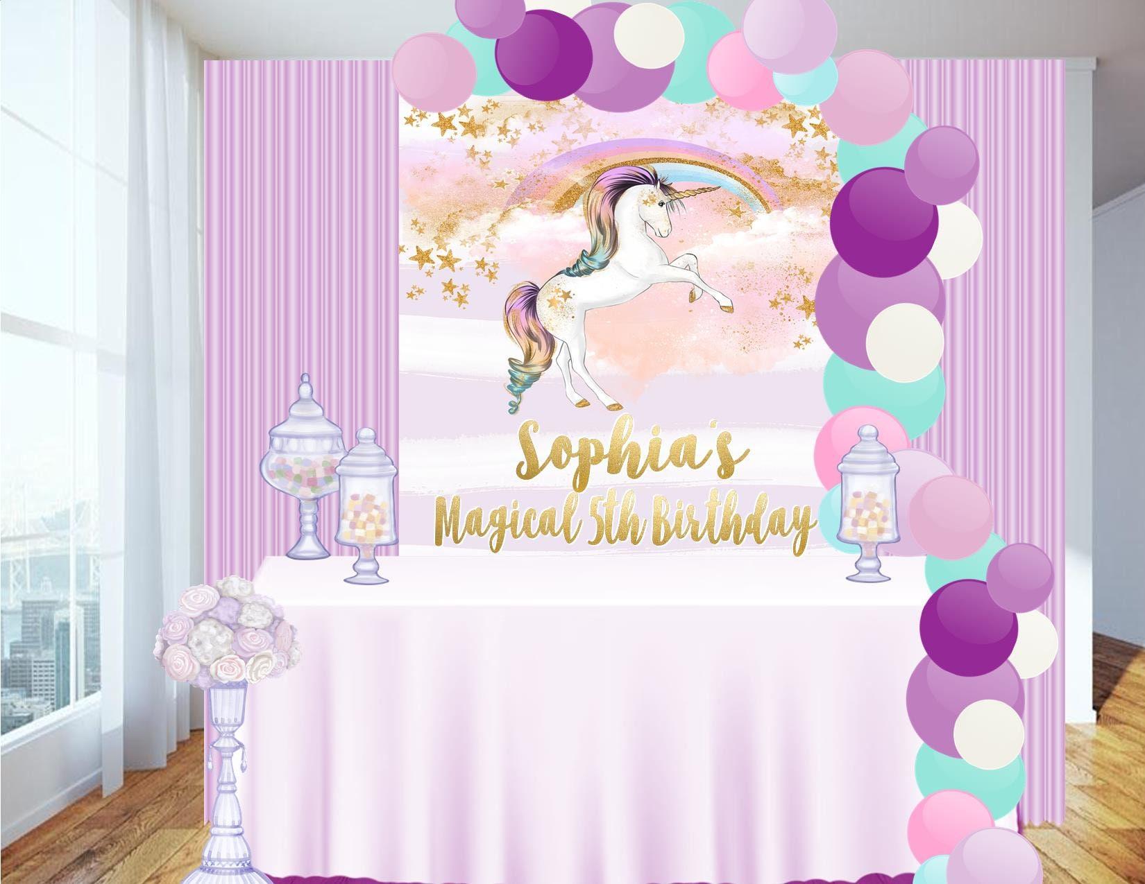 Digital file candy table backdrop unicorn party unicorn for Decoracion para la pared de unicornio