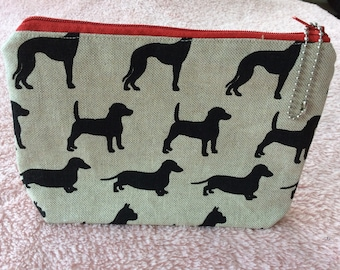 Black silhouette dogs fabric cosmetic pouch