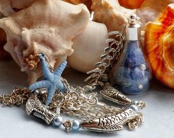Blue Mermaid Bottle Necklace