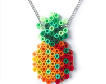 Pineapple pendant statement necklace, handmade with fuse beads.