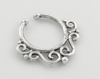 Fake Septum Ring. silver septum ring. indian septum ring. septum piercing. septum jewelry. fake septum ring. faux septum ring. silver septum