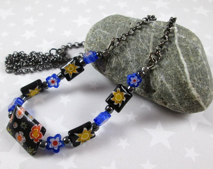 Outer Space Millefiori Necklace - Yellow Stars & Blue Flowers