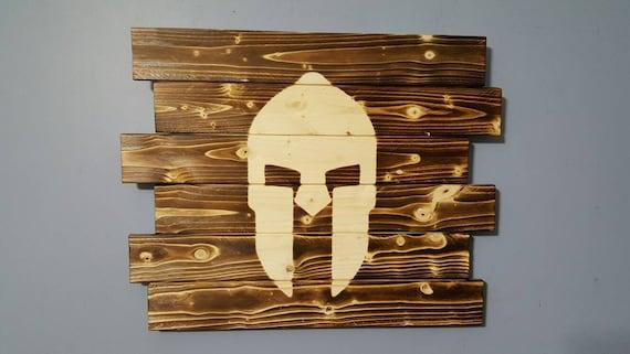 Spartan Spartan Helmet Wooden Rustic Wall Art