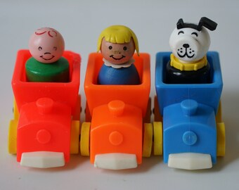 Vintage Fisher Price Little People Rider Trains