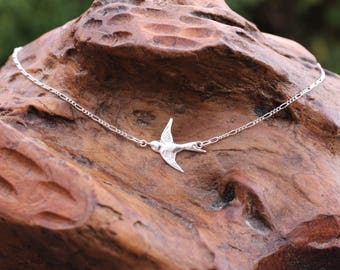 Silver Swallow Bird Necklace, sterling silver